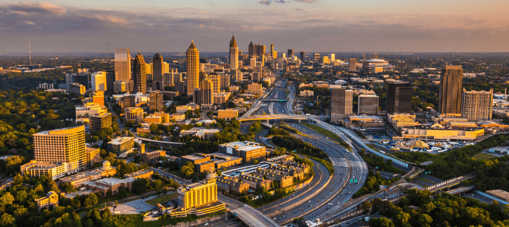 Aerial view of I-75 and I-85 highways, Atlanta