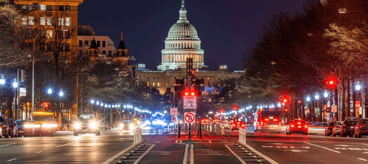 Capitol Building of United States at twilight time, Washington DC, USA