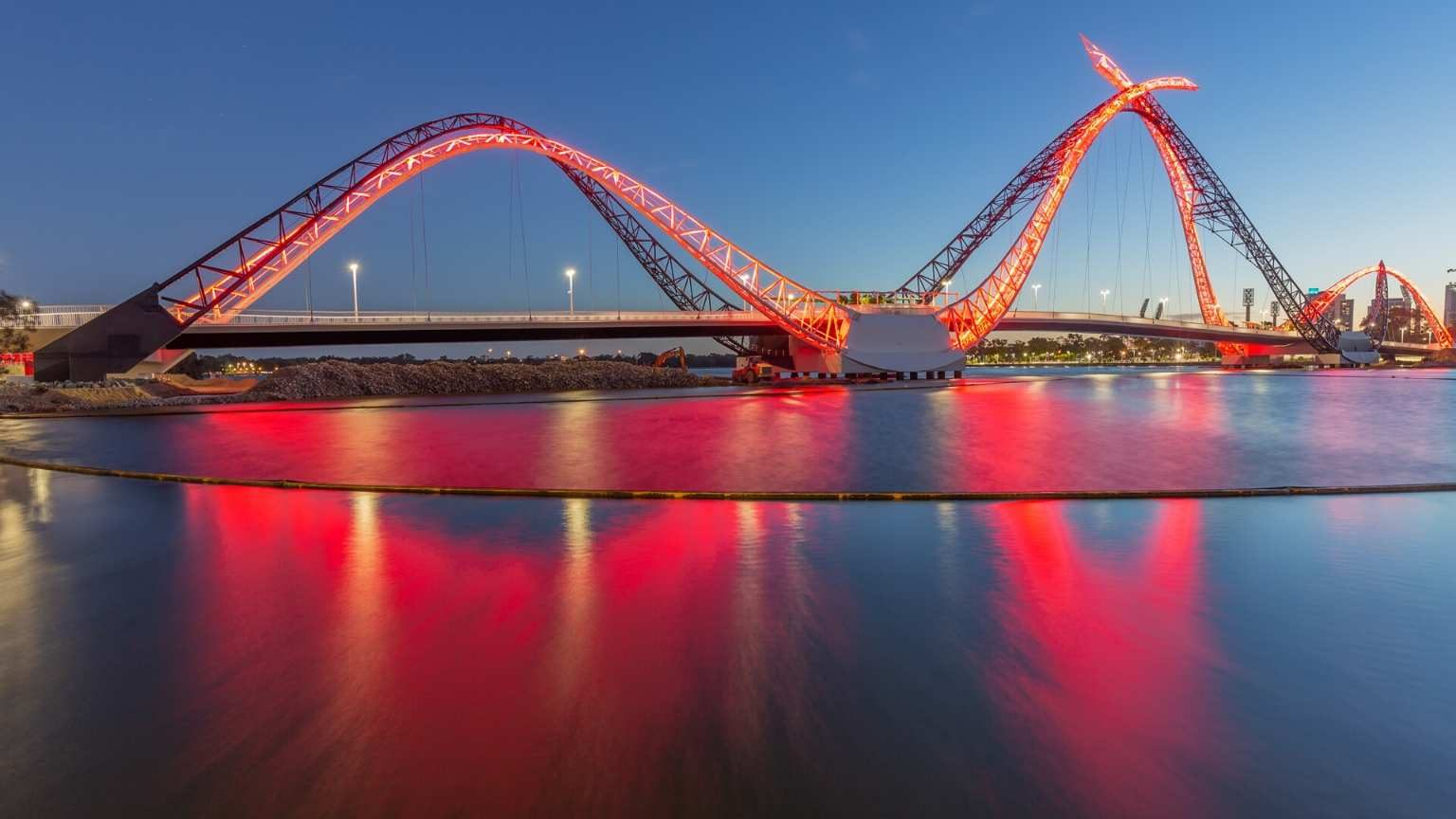 Matagarup Bridge with red lights at night