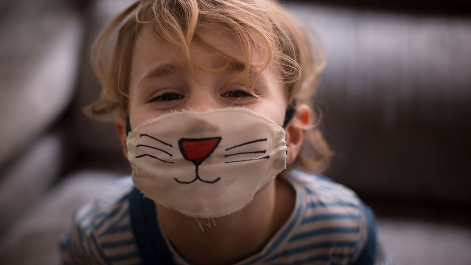 Boy wearing face mask