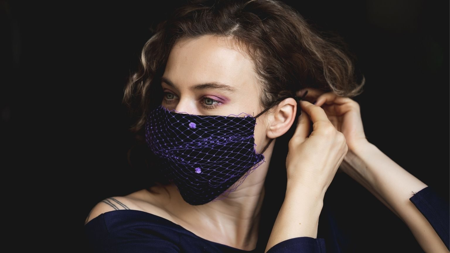 Woman wearing fashionable face mask