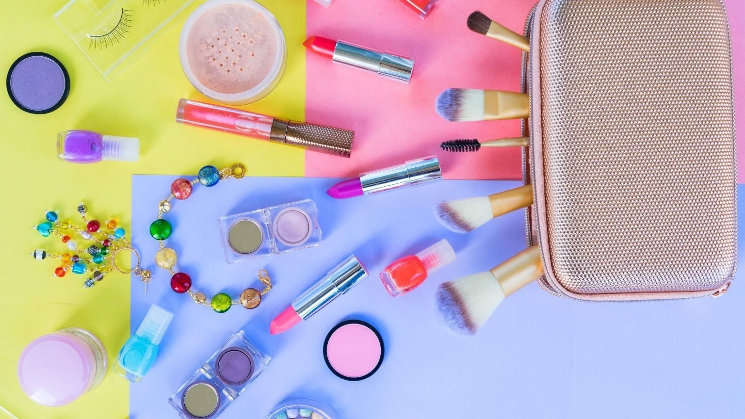 Beauty products spilling out of bag, colorful background