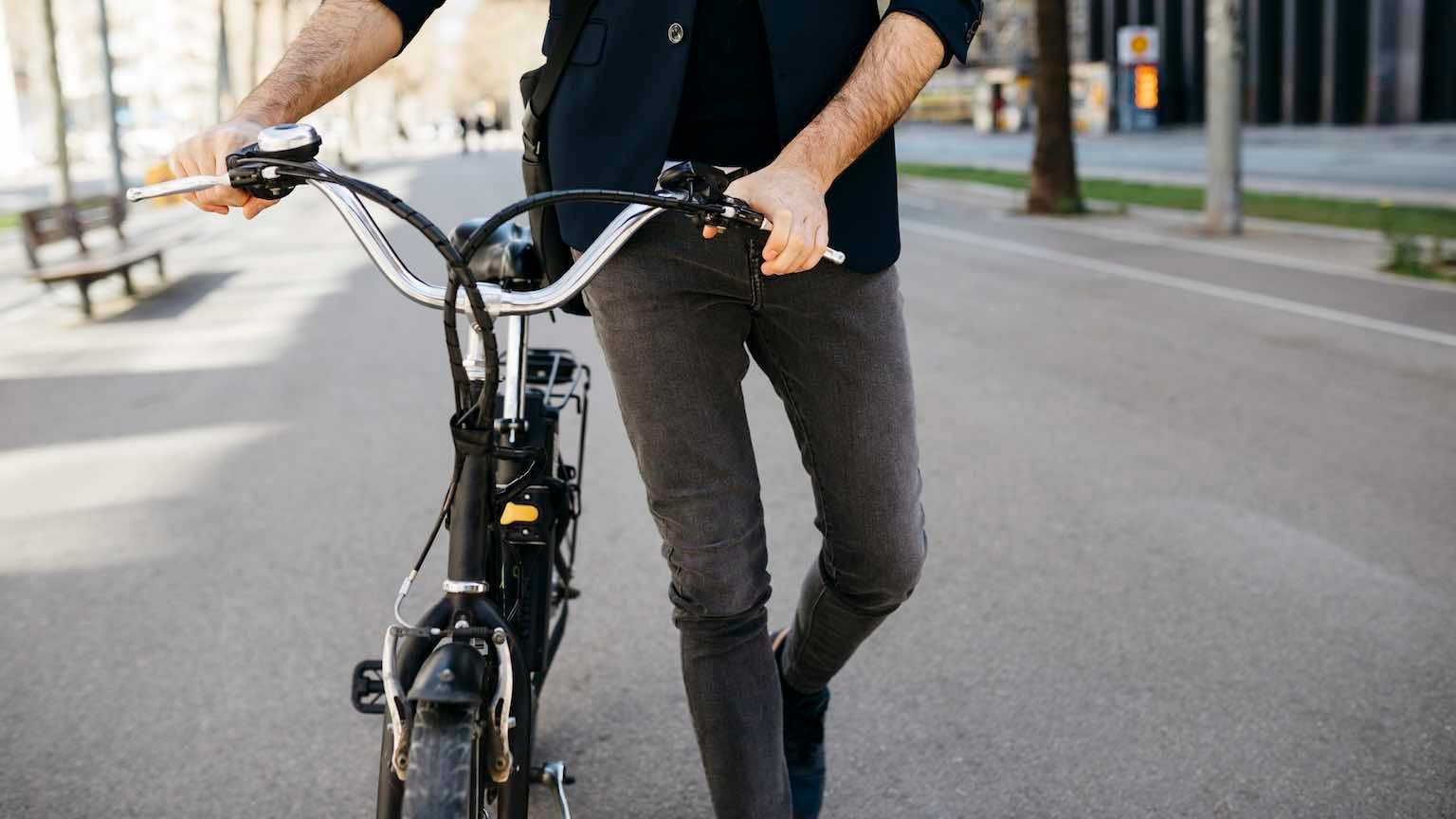 Man riding his electric commuter bike to work