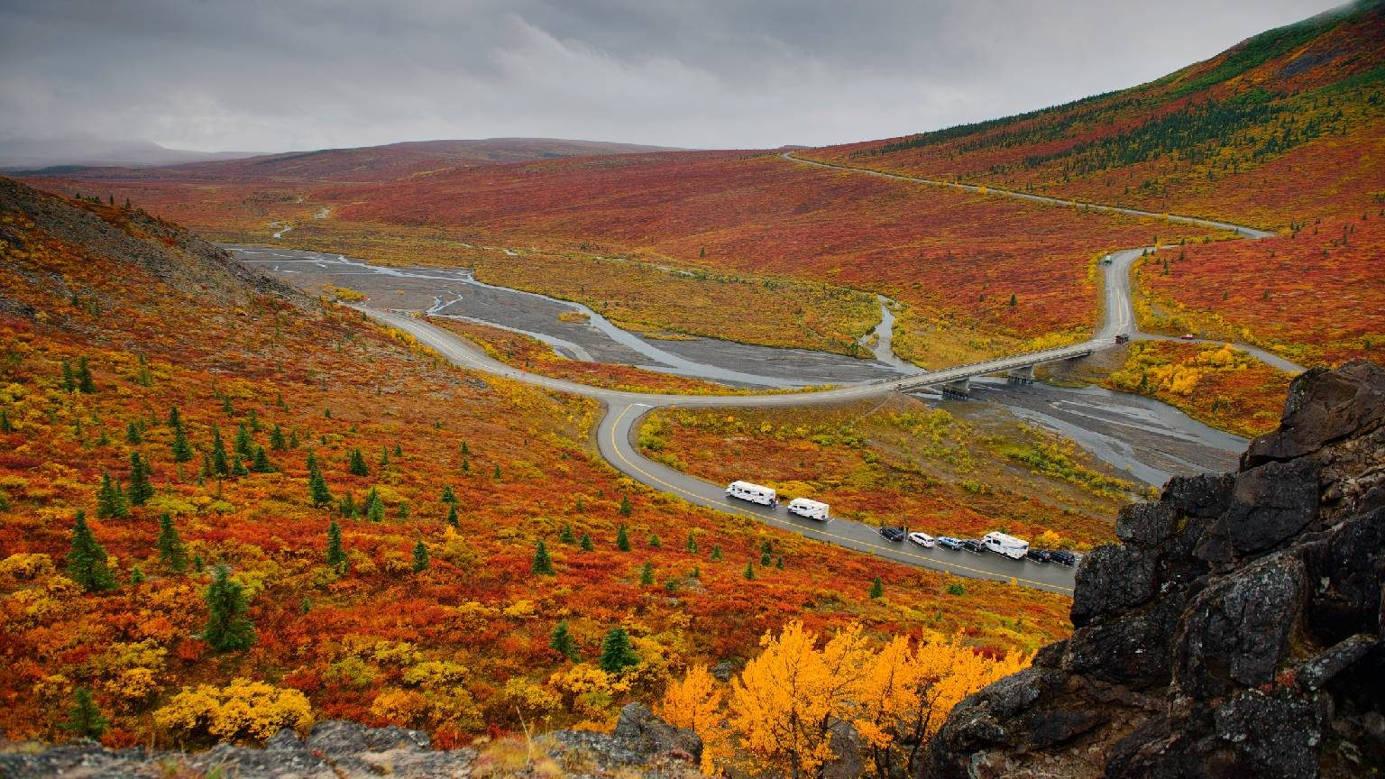 Aerial view of RVs and cars parked in Denali National Park in Alaska with fall colored leaves all around.