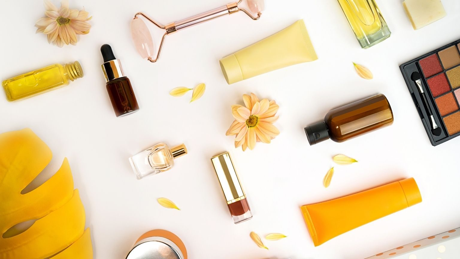 Skincare products on table