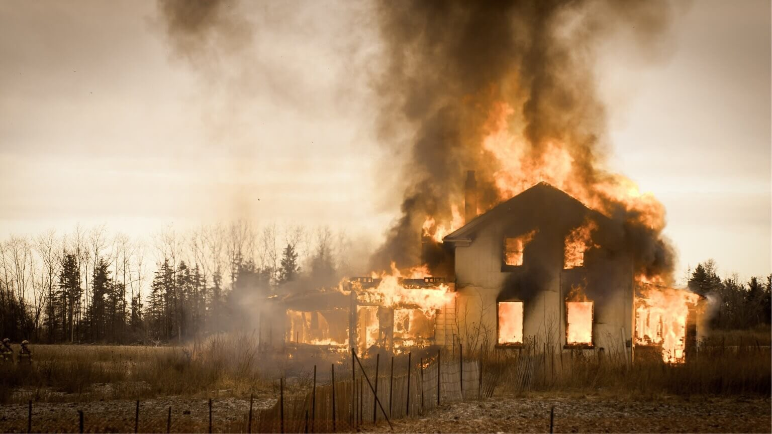 picture of a house on fire in flames