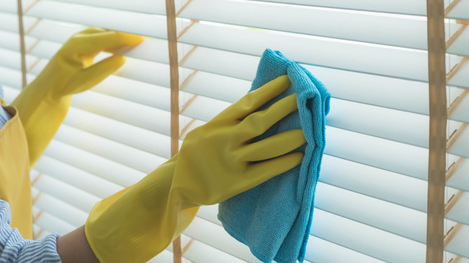 woman wearing gloves cleaning blind