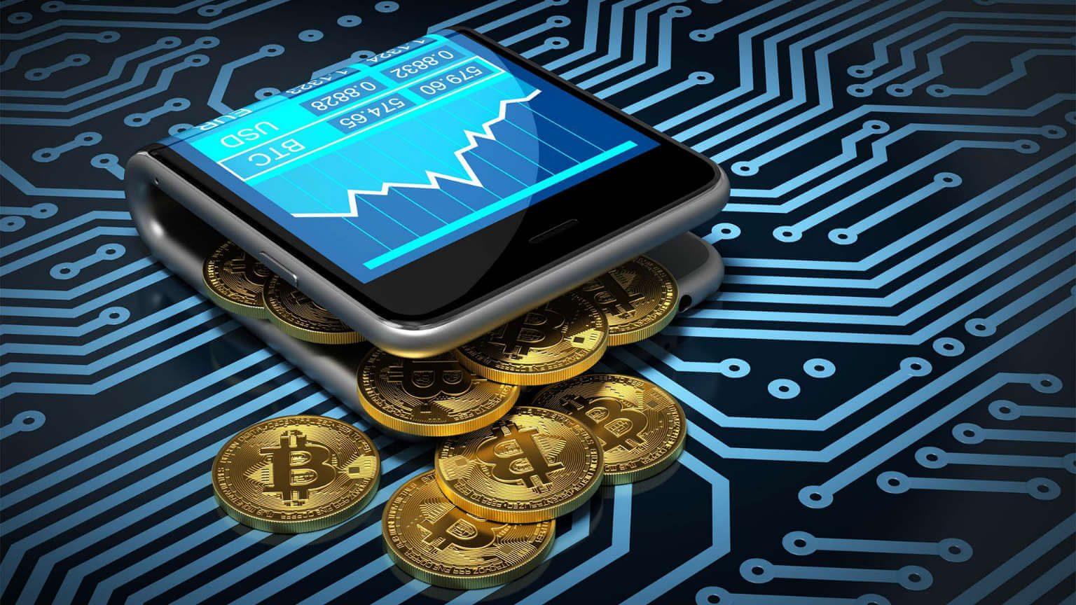 wallet cellphone containing bitcoins