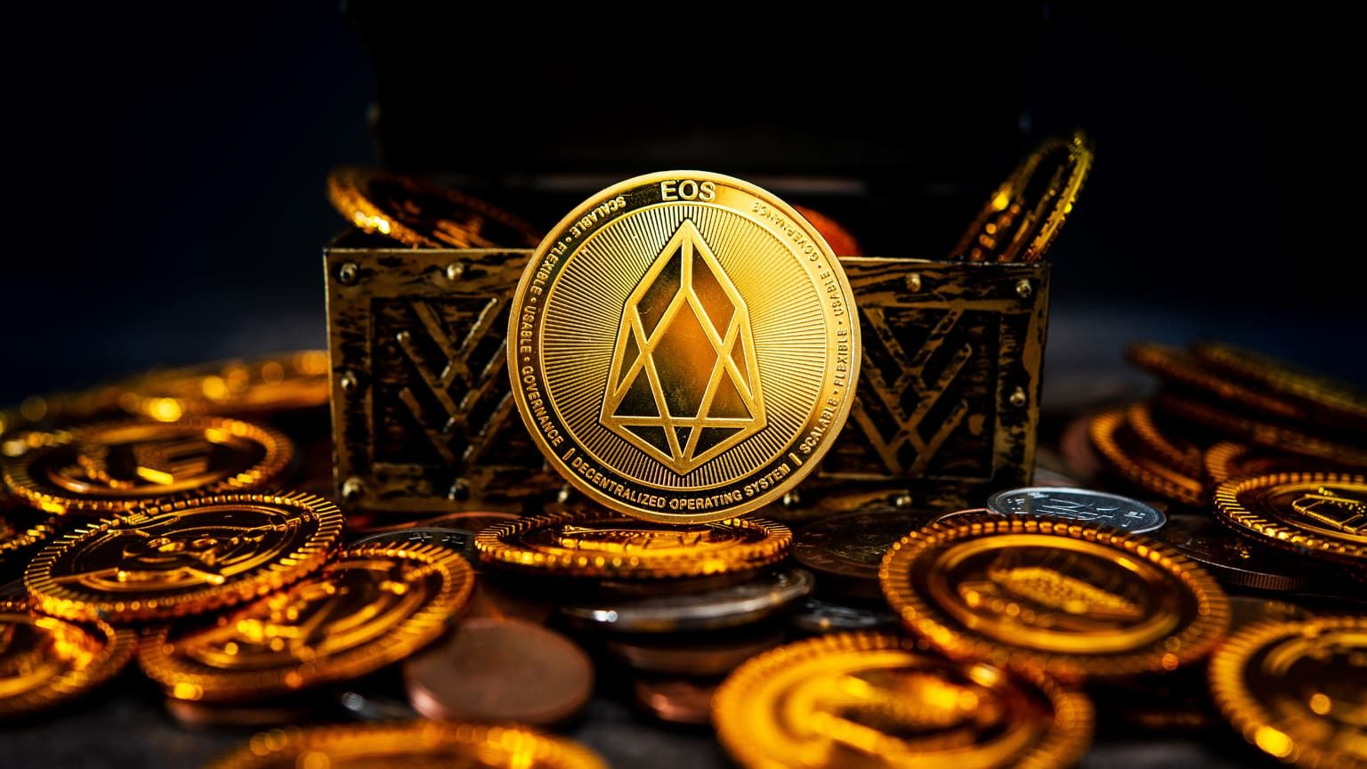 EOS cryptocurrency in a treasure box