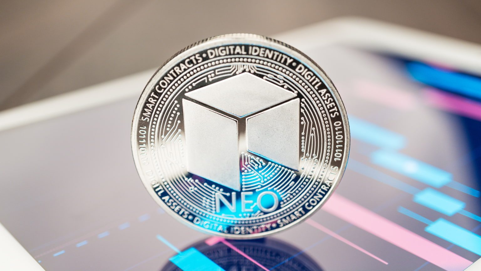 Closeup of NEO physical coin
