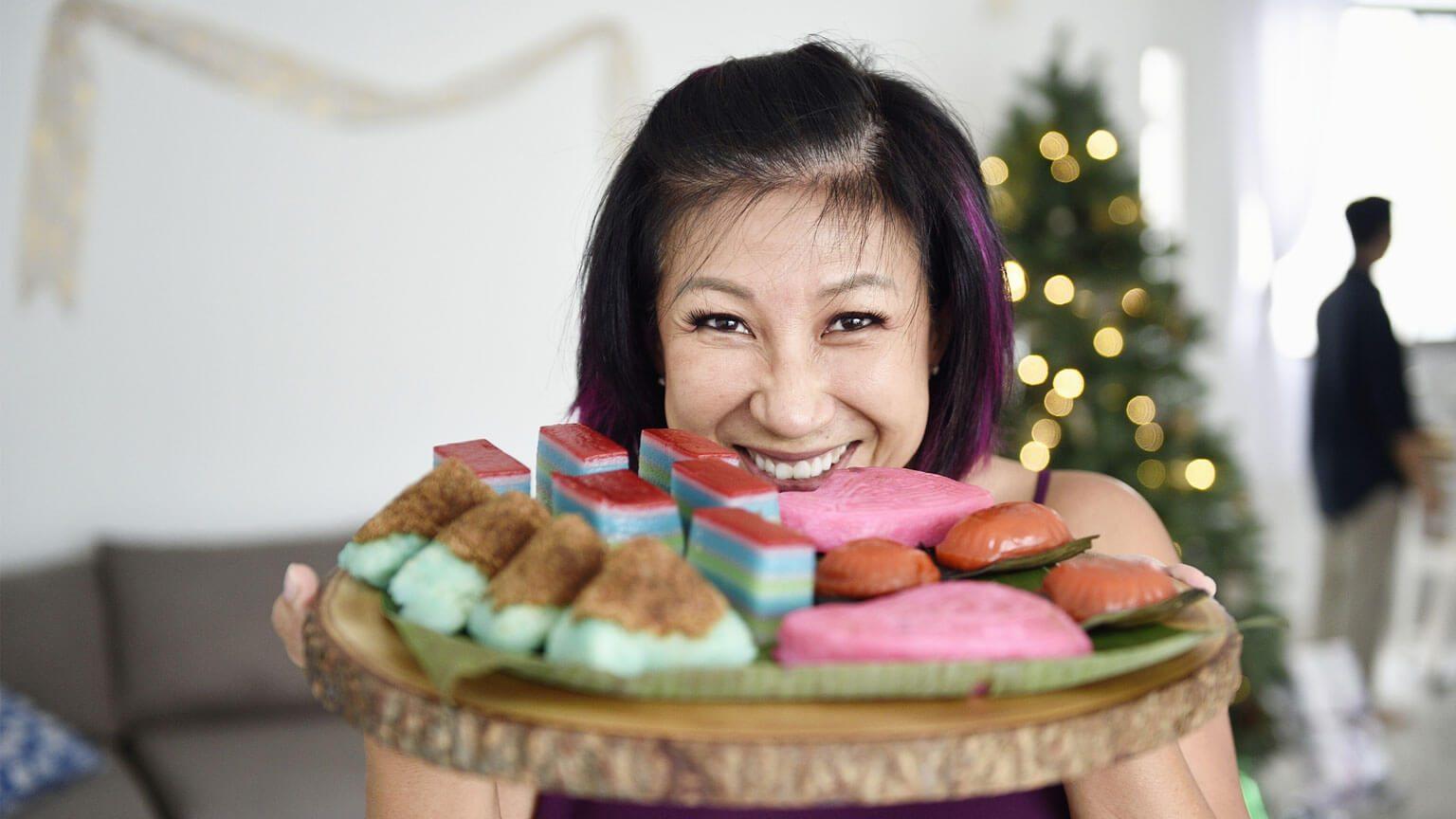 woman eating food platter