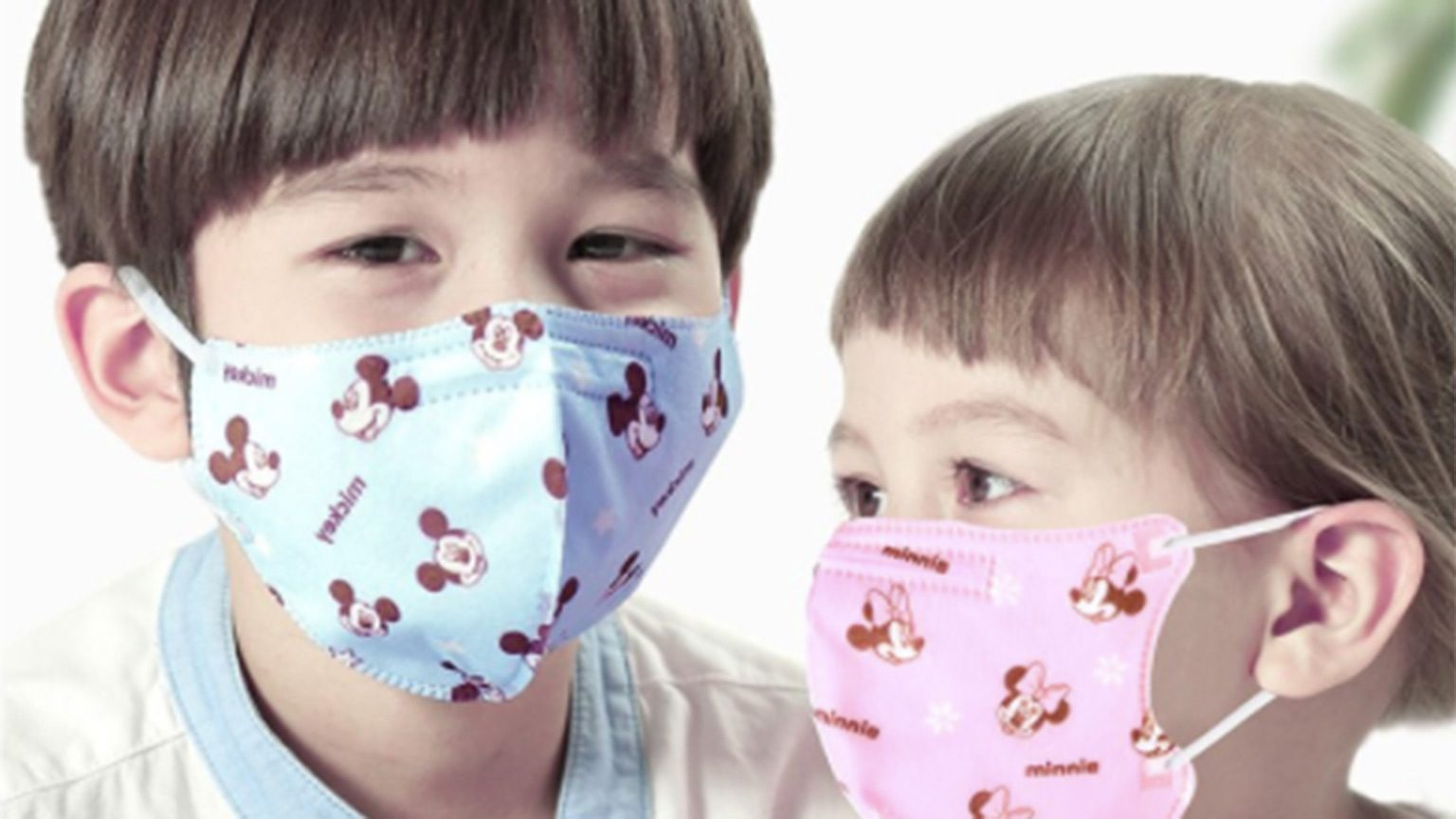 Children Wearing Mickey Minnie Face Mask