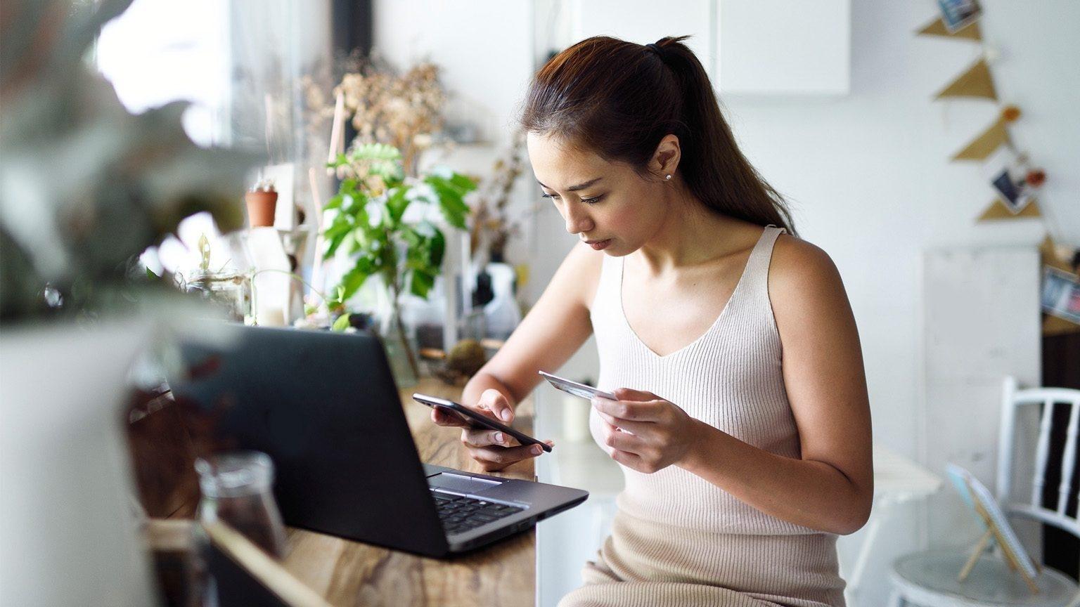 Girl Debit Card With Laptop