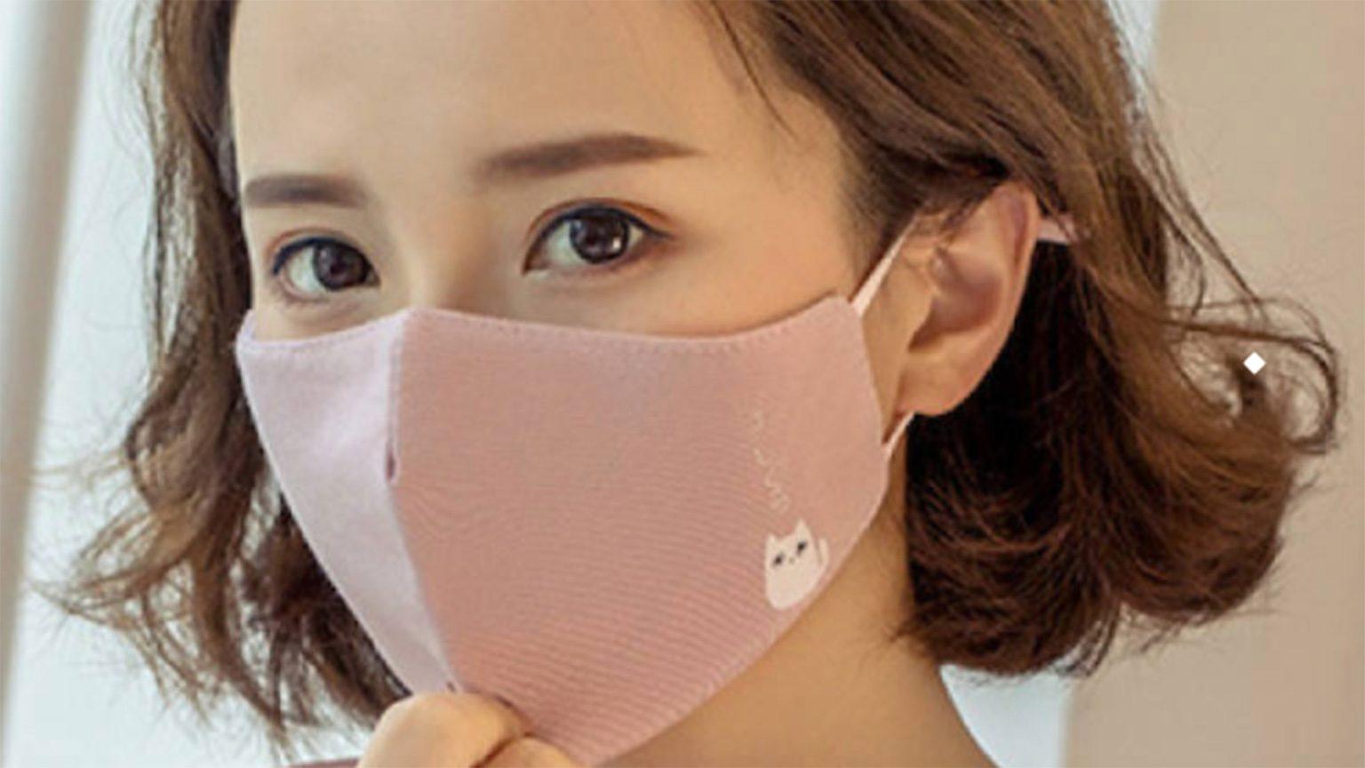 Lady Wearing Adjustable Earloop Mask