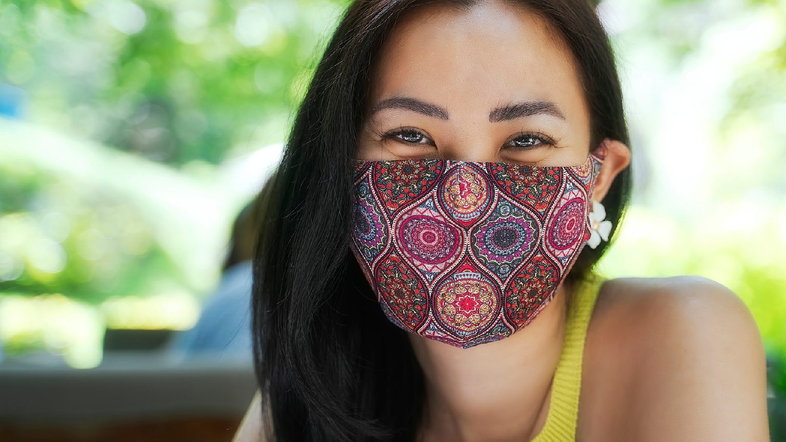 woman wearing personalised face masks
