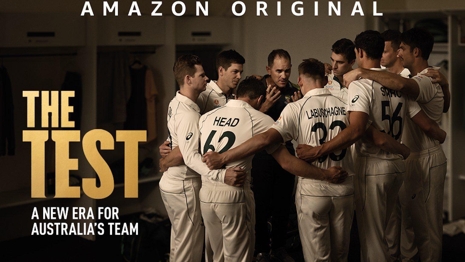 Australian cricket team huddling in locker room
