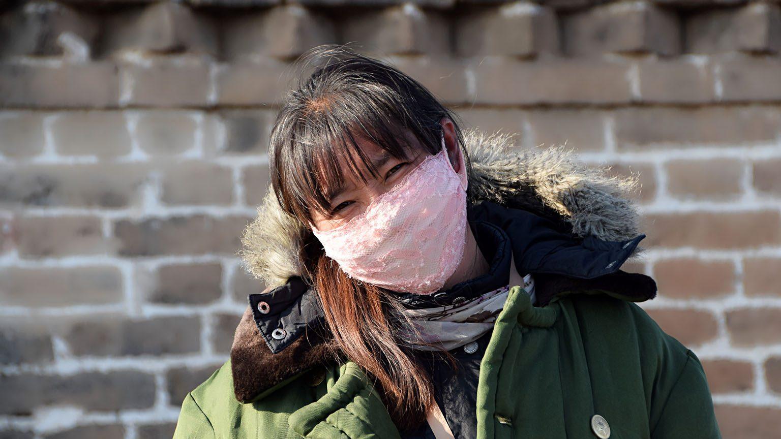 woman wearing cloth mask