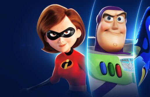 Disney+ graphic showing Elastigirl and Buzz Lightyear