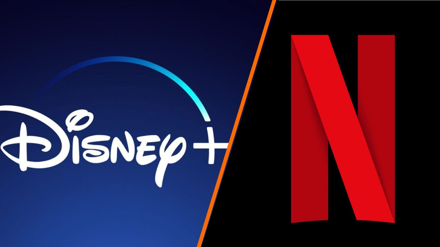 Logo collage of the streaming services of Disney and Netflix