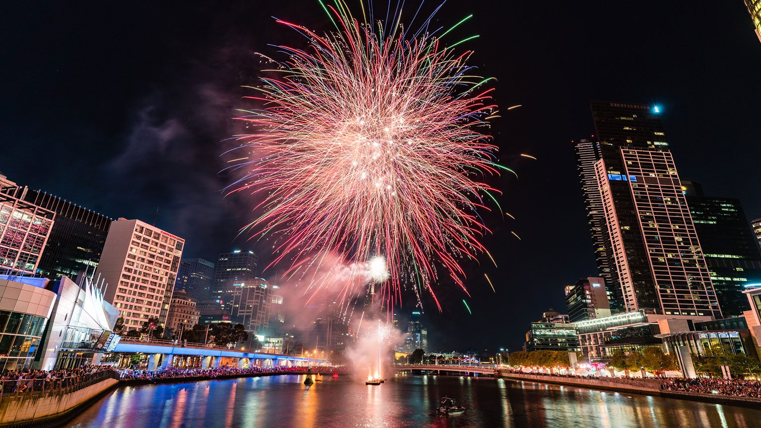 Melbourne city fireworks