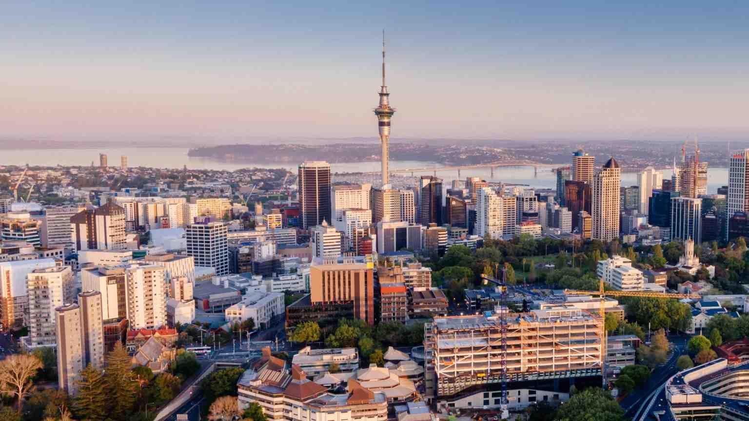 19 OCTOBER, AUCKLAND, NEW ZEALAND. Aerial View Of Auckland City Skyline at sunrise