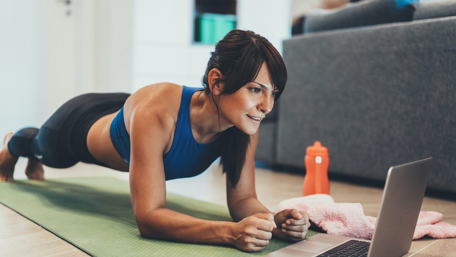 Lady working out at home