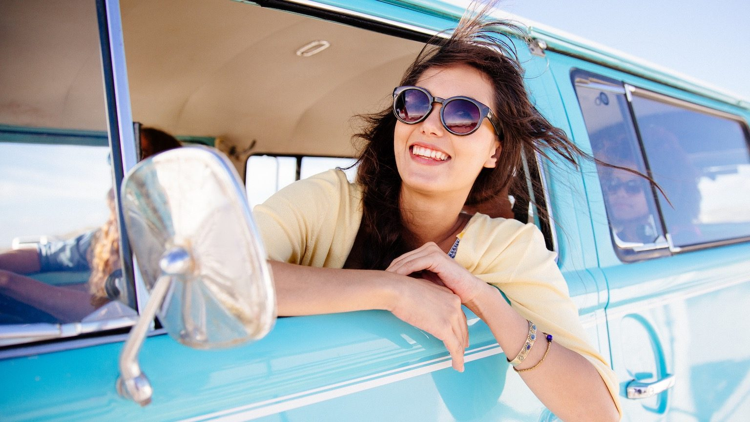 Hipster girl in car
