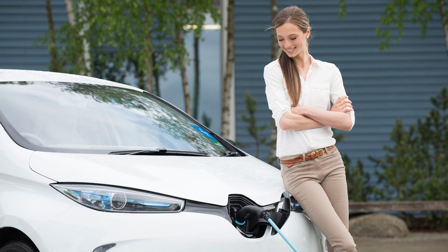 Girl with electric car