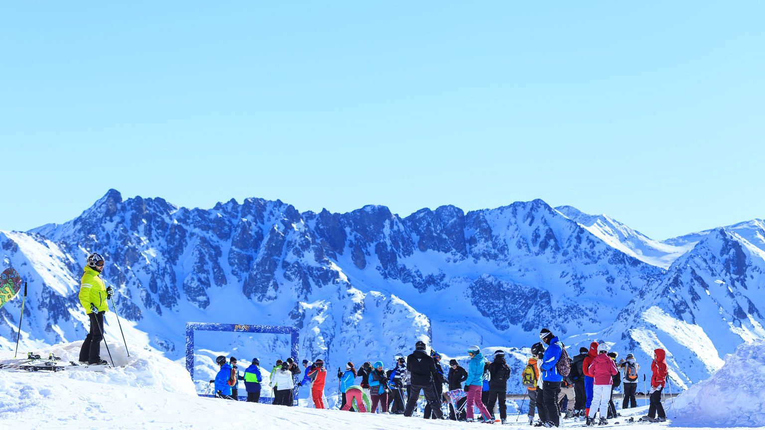 Ski resort tourists in Bansko, Bulgaria