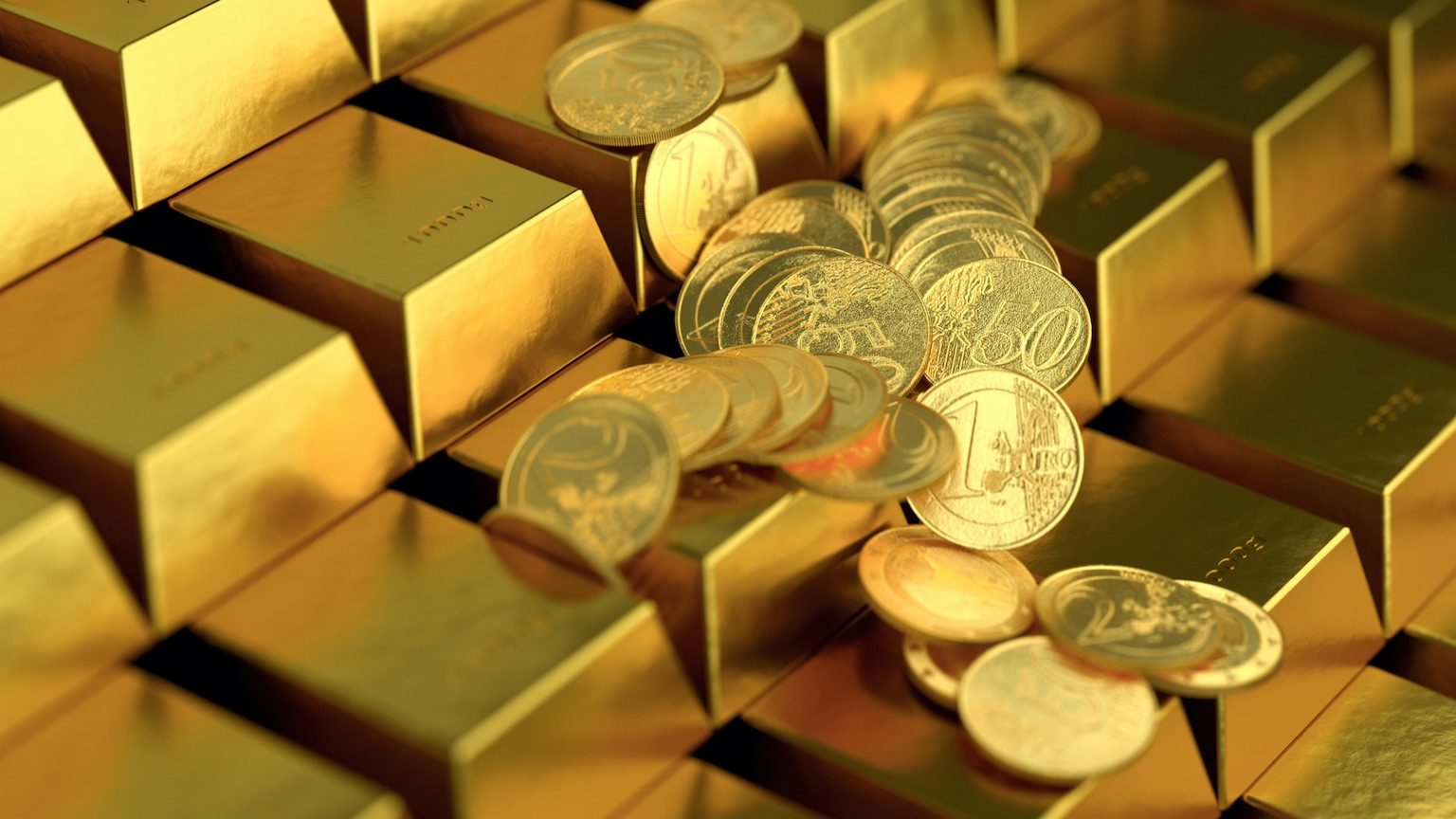 gold bar and gold coin