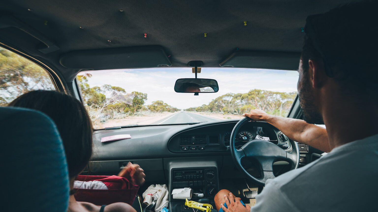 Young drivers on a road trip