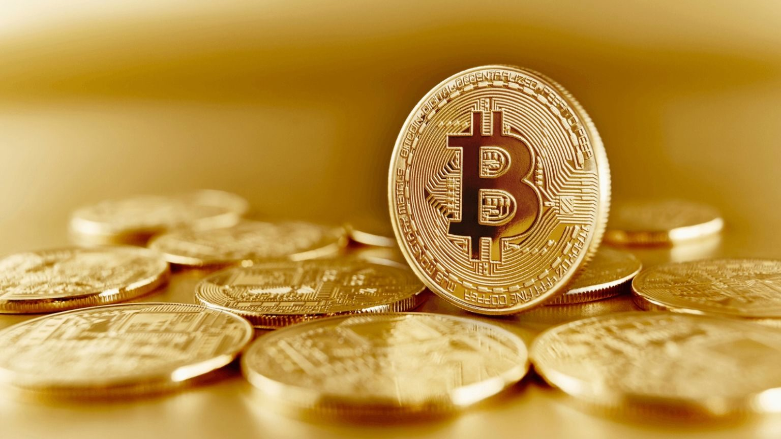 Closeup of Bitcoin cryptocurrency