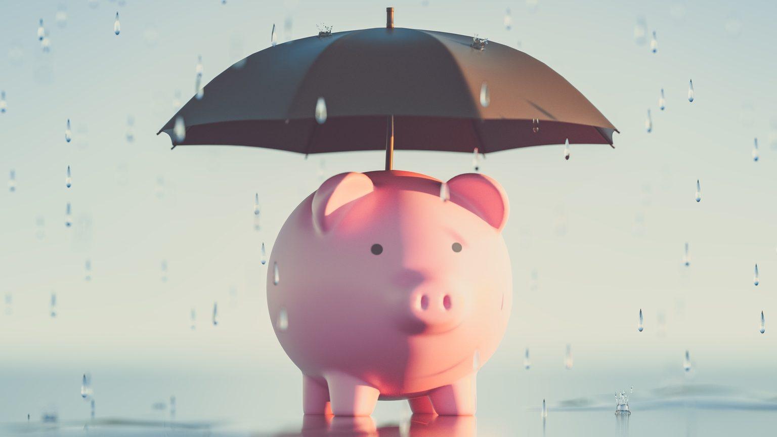Rainy Day Fund Piggy Bank Umbrella