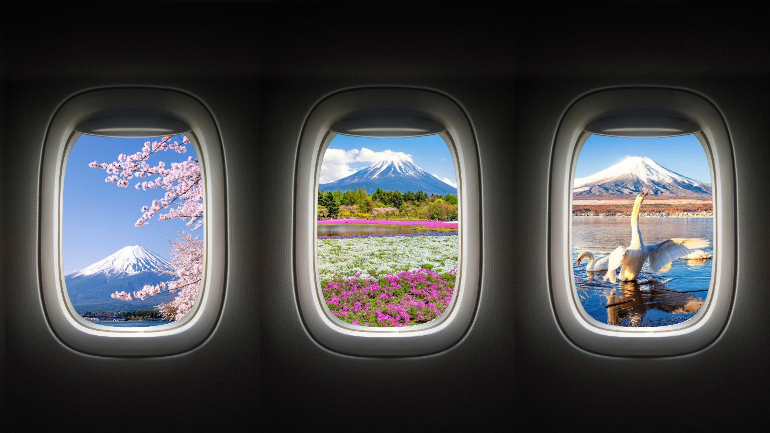 Mt Fuji in window