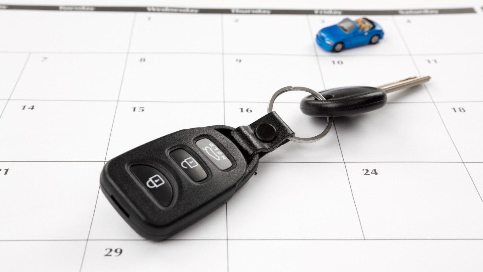 Car key sitting desk calendar