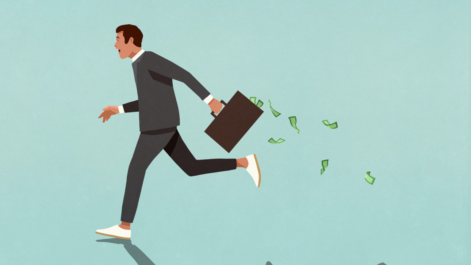 A cartoon of a business man running away with a briefcase full of money