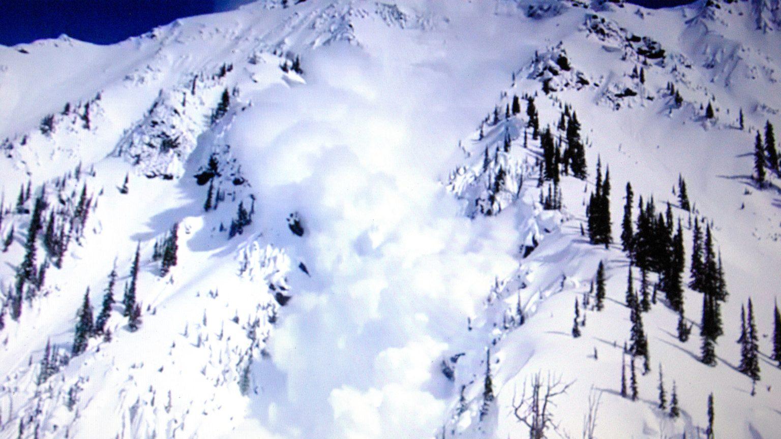 Snowy mountain avalanche