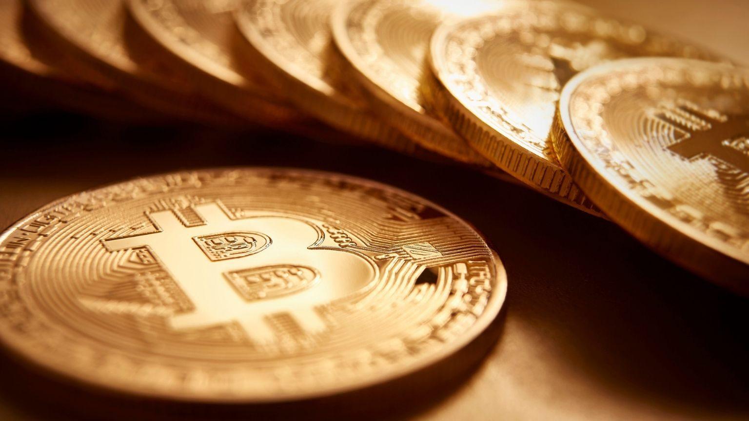 Pile of bitcoins