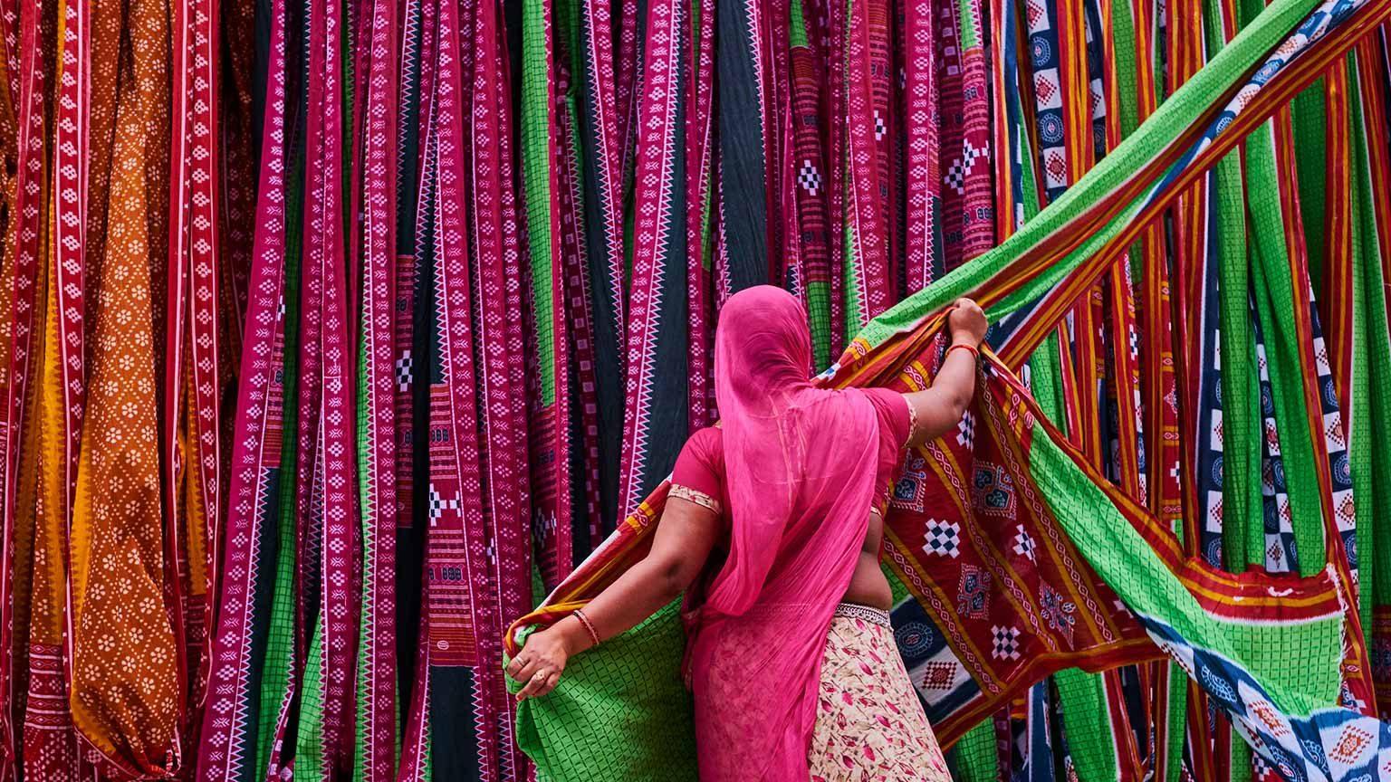 Woman at sari factory in India