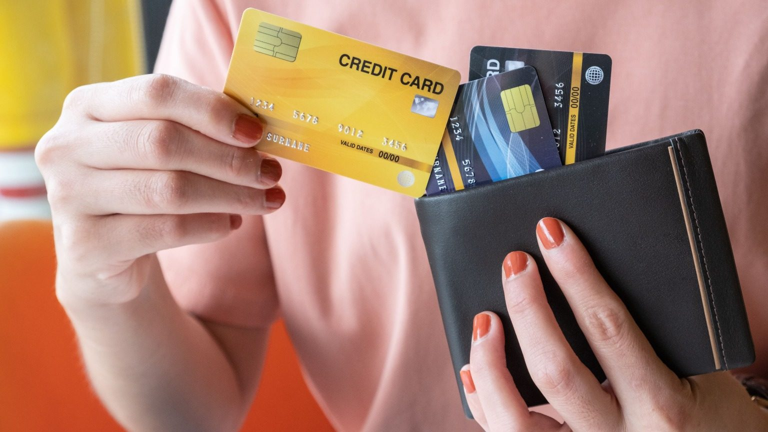 Closeup of a woman's wallet and credit cards