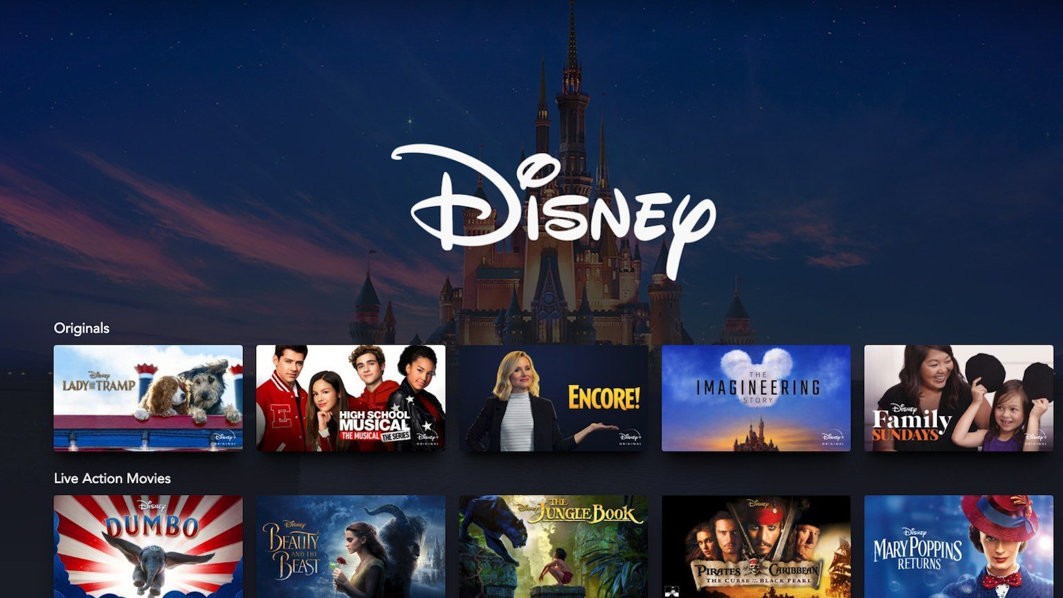 Disney castle overlaid with logo and images of shows