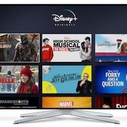 Disney Plus show thumbnails on a tv screen