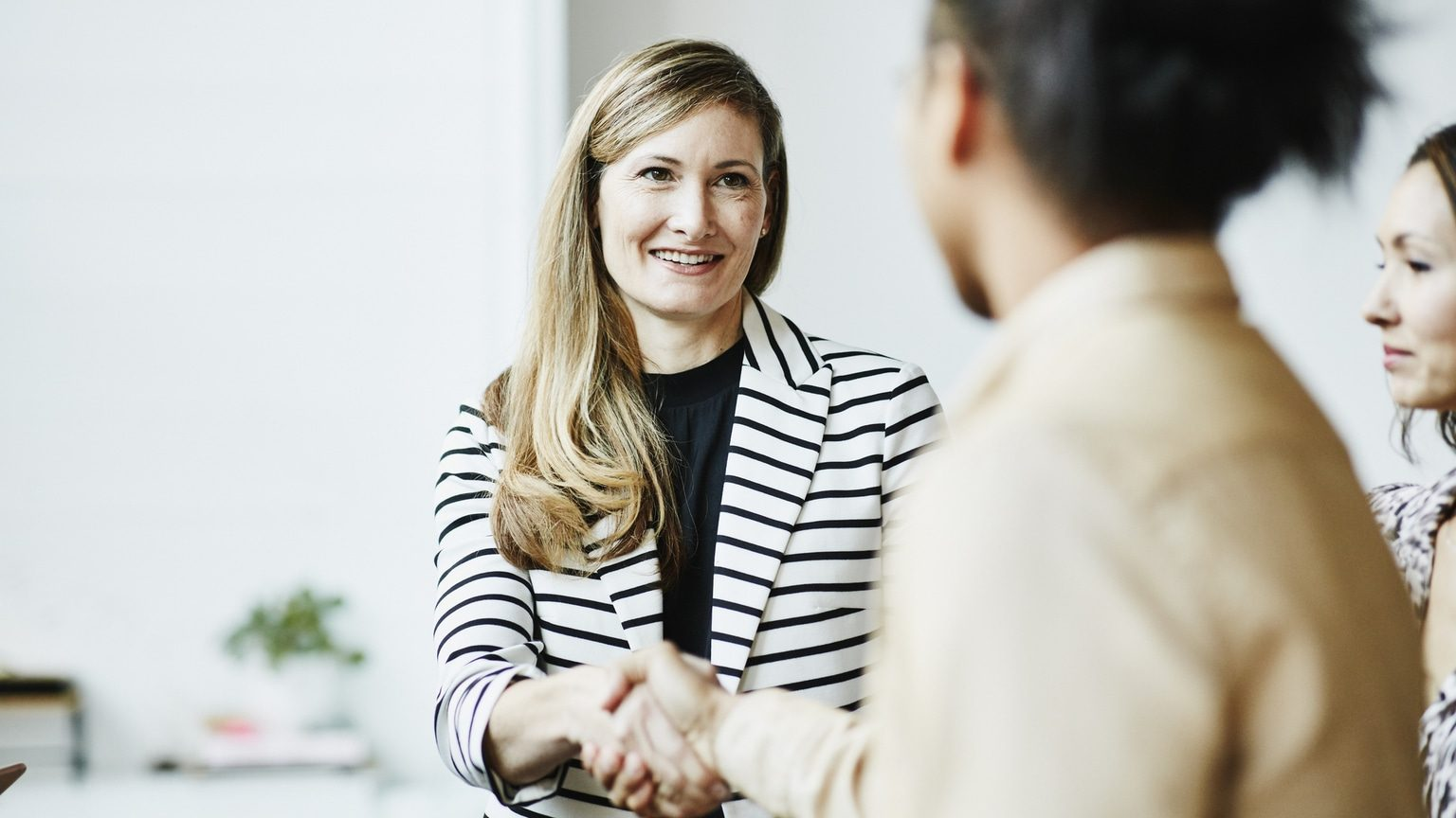 Businesswoman shaking hands with financial advisor