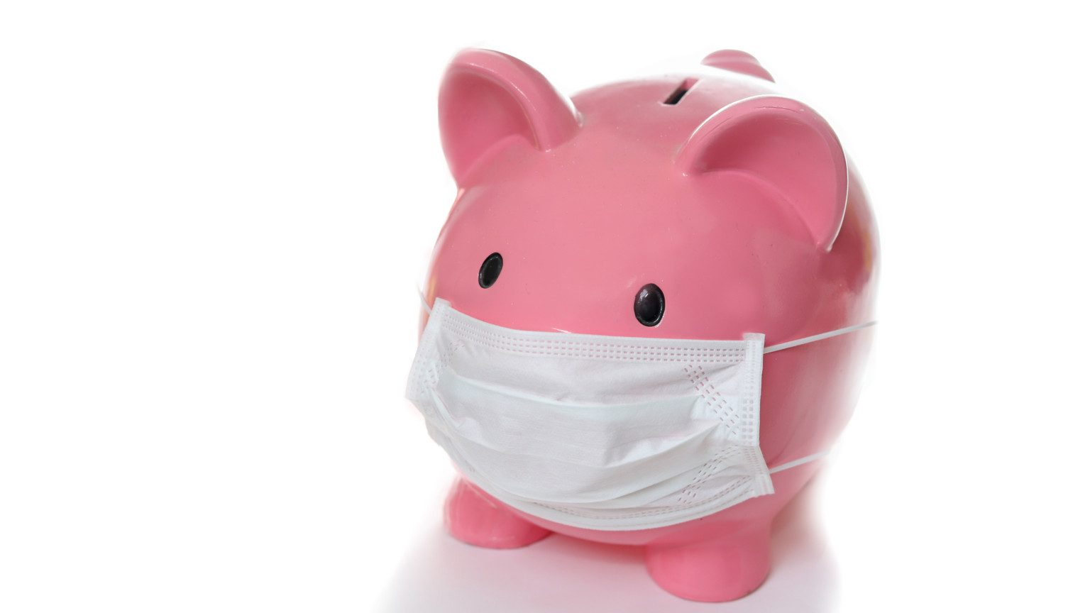 Piggy bank wearing a medical mask