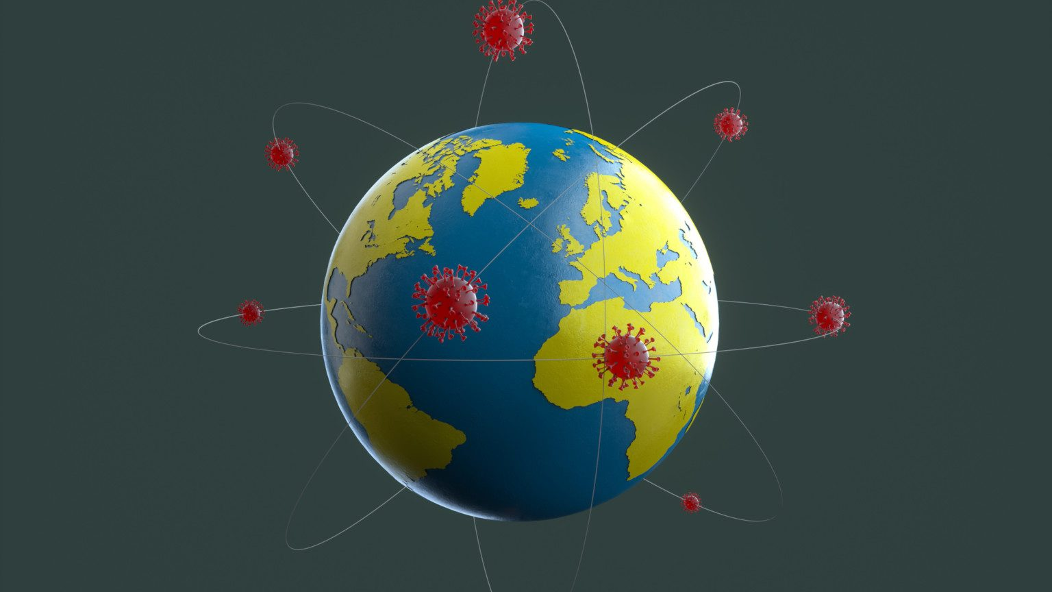 The globe with a virus surrounding it