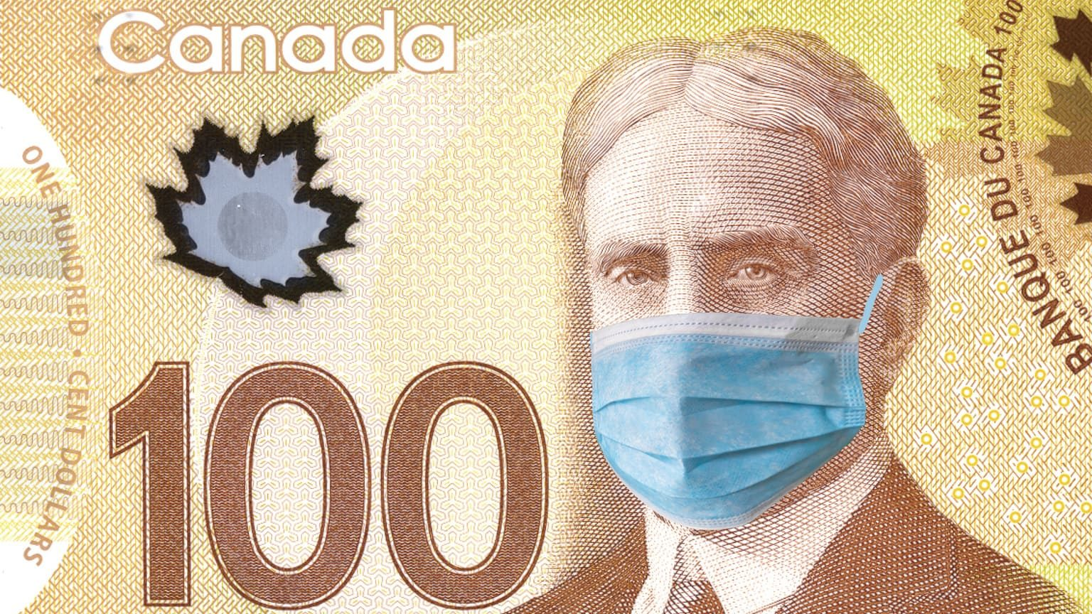 Canadian $100 bill with Robert Borden wearing protective face mask