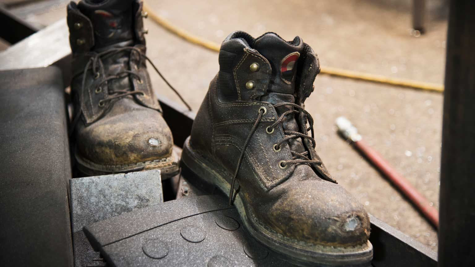 Close up of work boots