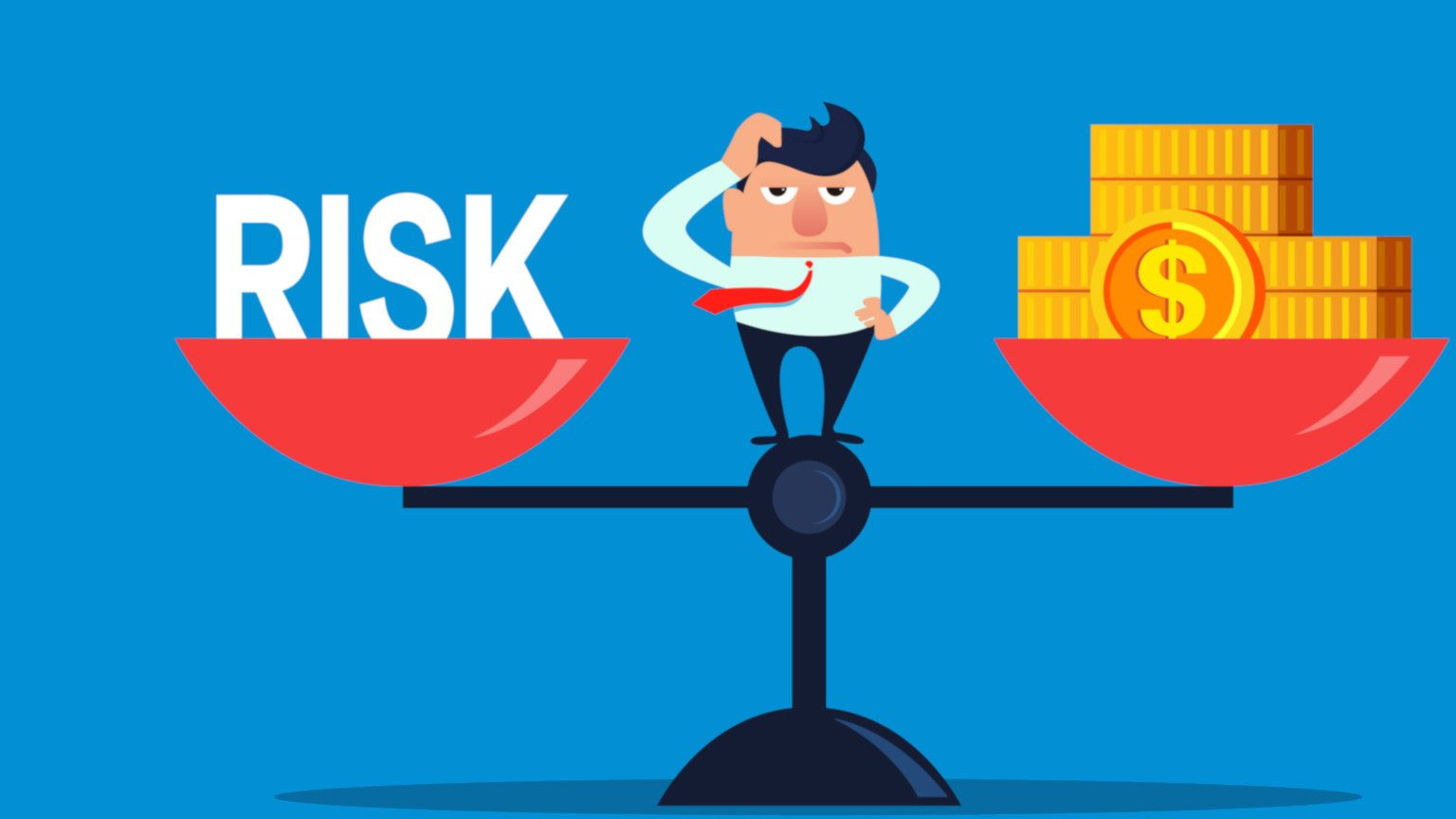 Cartoon of business man on scale weighing risk and money