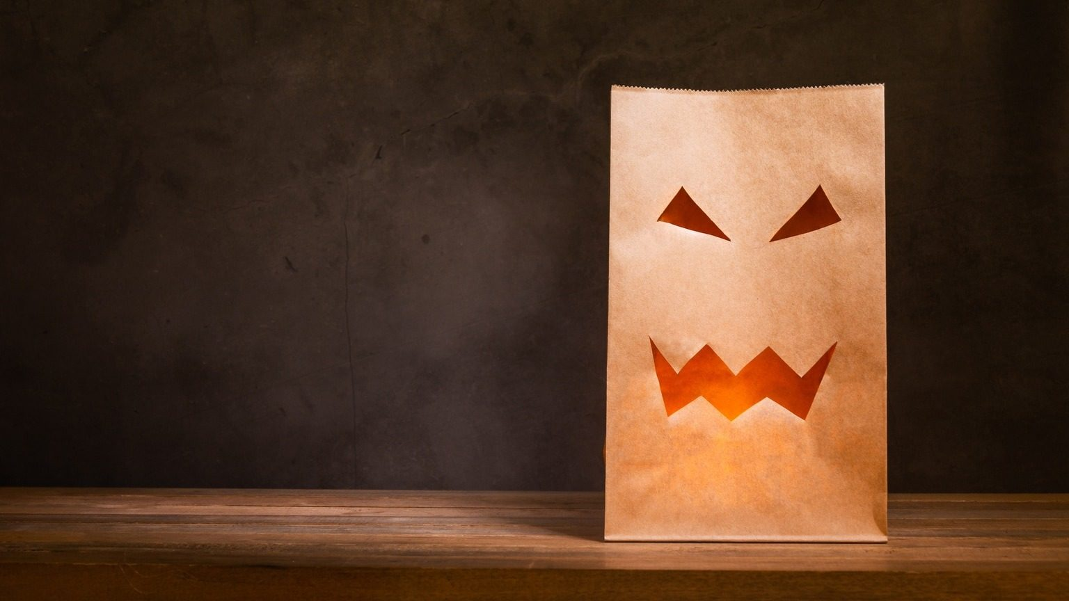 Brown paper jack-o'-lantern Halloween decoration