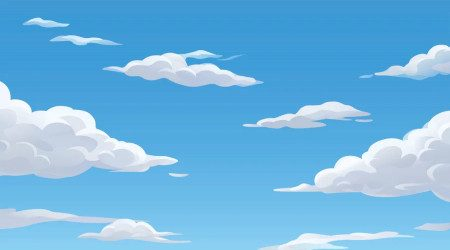 Cartoon clouds in blue sky